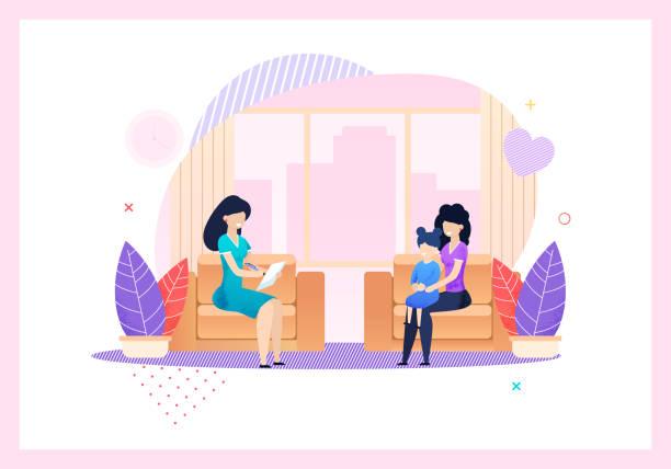 Social Protection Agent Consultation for Family vector art illustration