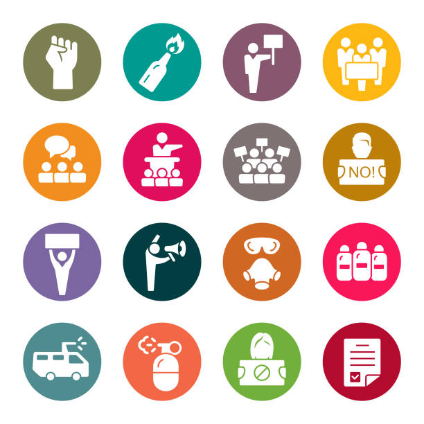 Social protest colourful vector icons Social protest vector icon set police meeting stock illustrations