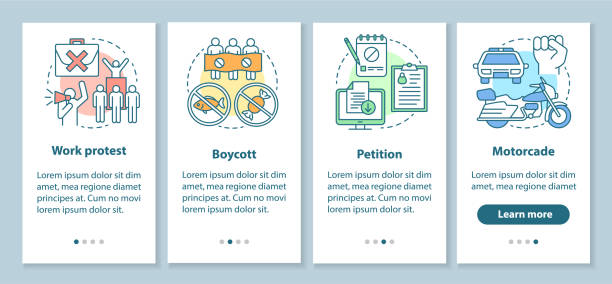 Social protest onboarding mobile app page screen with linear concepts. Public demonstration and boycott walkthrough steps graphic instructions. UX, UI, GUI vector template with illustrations Social protest onboarding mobile app page screen with linear concepts. Public demonstration and boycott walkthrough steps graphic instructions. UX, UI, GUI vector template with illustrations facebook boycott stock illustrations