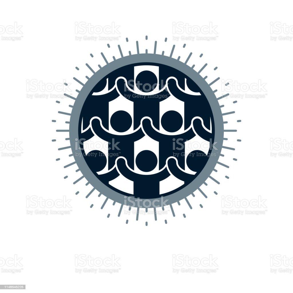 Social Relations conceptual unique vector symbol. Social interaction,...