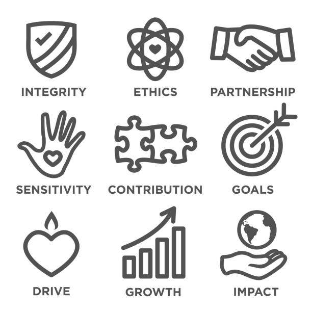Social Responsibility Outline Icon Set Social Responsibility Outline Icon Set - drive, growth, integrity, sensitivity, contribution, goals impact stock illustrations
