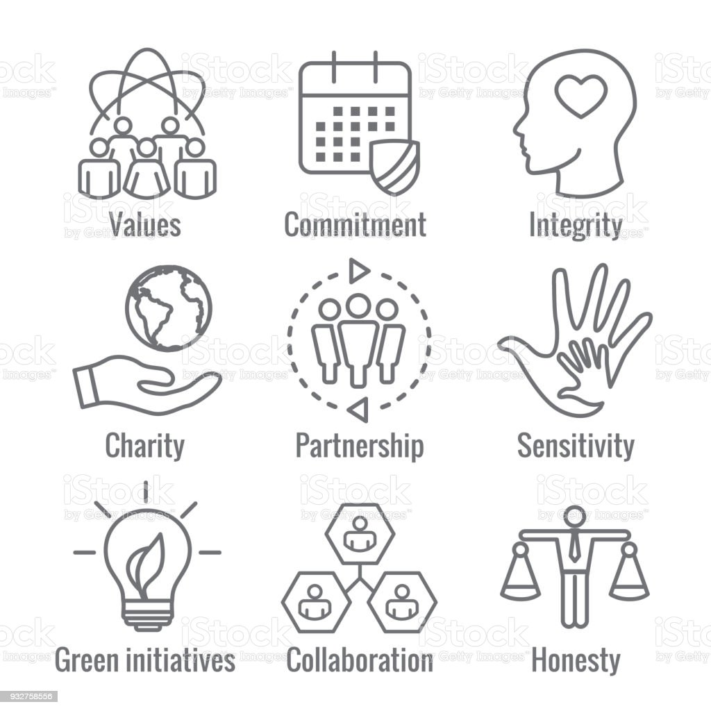Social responsibility outline icon set with honesty integrity social responsibility outline icon set with honesty integrity collaboration etc royalty free biocorpaavc Image collections