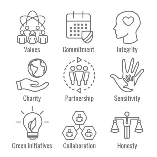 Social Responsibility Outline Icon Set with Honesty, integrity, collaboration, etc Social Responsibility Outline Icon Set with Honesty, integrity, & collaboration, etc corporate responsibility stock illustrations