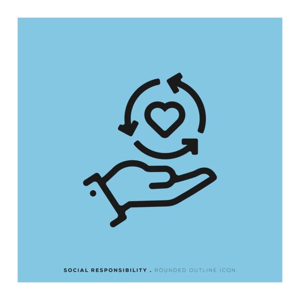 illustrazioni stock, clip art, cartoni animati e icone di tendenza di social responsibility rounded line icon - sustainability icons