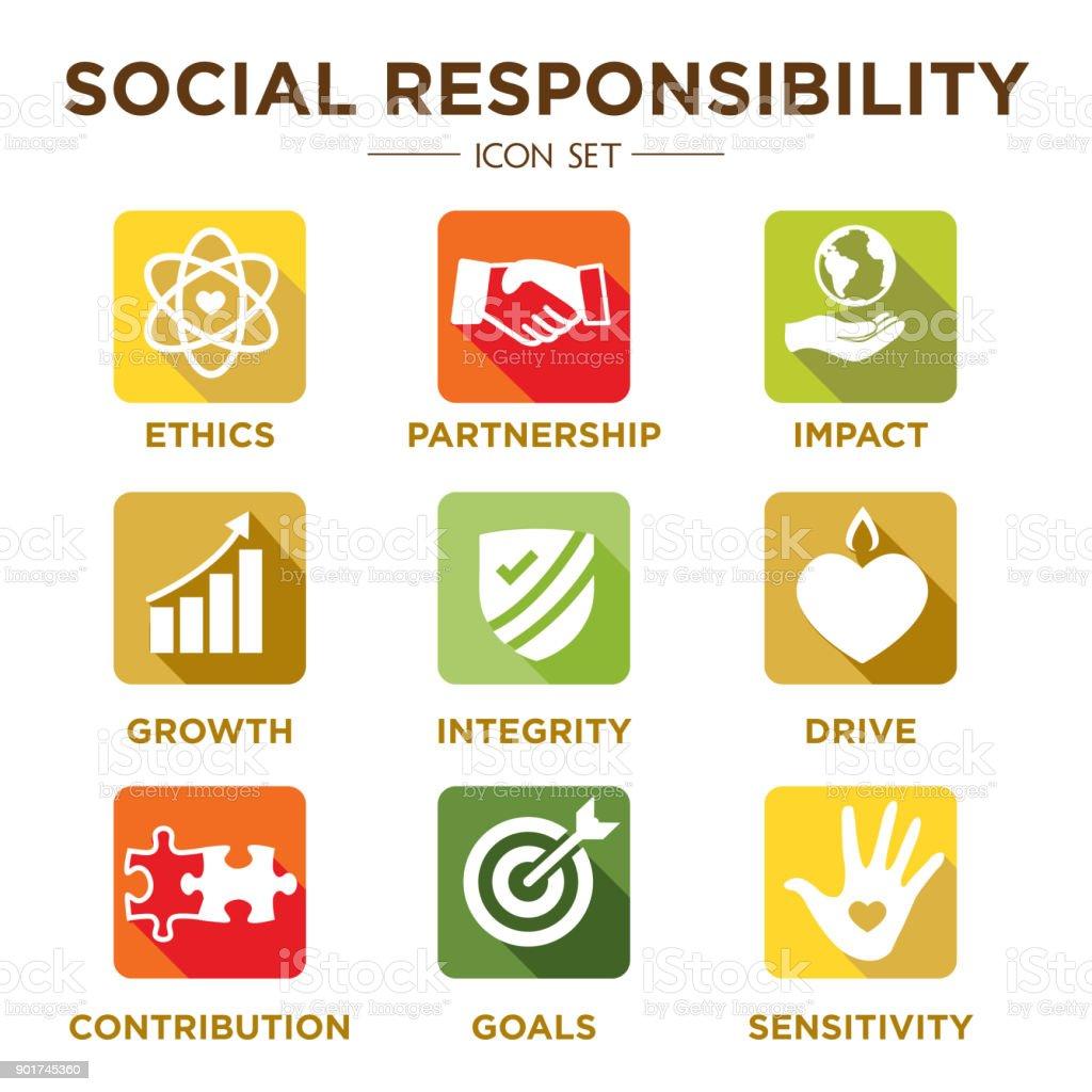 Social Responsibility Solid Icon Set vector art illustration