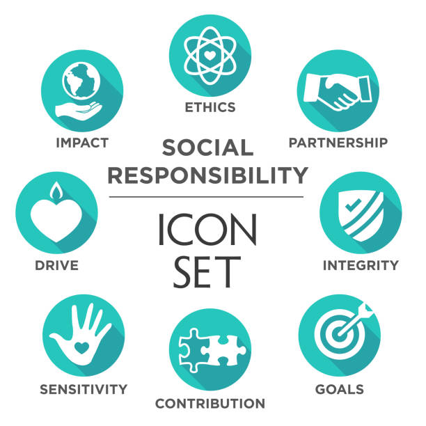 Social Responsibility Solid Icon Set Social Responsibility Solid Icon Set with Impact, Ethics, Partnership, drive, etc corporate responsibility stock illustrations