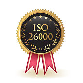 ISO 26000 social responsibility standard gold certified badge isolated.