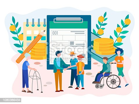 Social Security Benefits Form for pensioners and disabled person concept. Vector illustration.