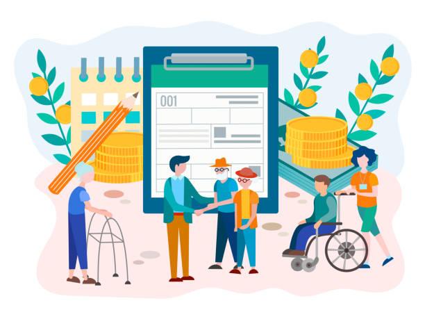 stockillustraties, clipart, cartoons en iconen met sociale zekerheid voordelen formulier voor gepensioneerden en gehandicapten concept - sociale dienst