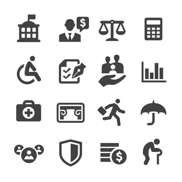 social security icons - acme series - insurance stock illustrations
