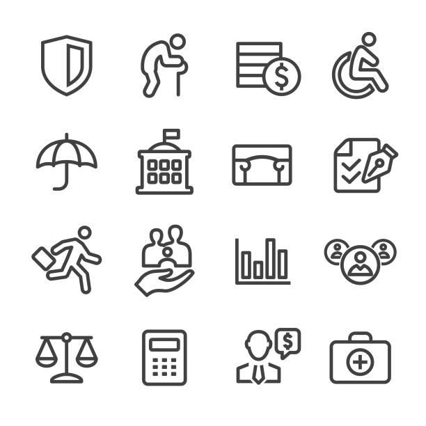 stockillustraties, clipart, cartoons en iconen met sociale zekerheid icons - line serie - sociale dienst
