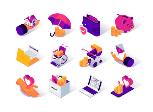 Social security isometric icons set. Social benefits for disability, payments for pension and childbirth. Social security isometric icons set. Social benefits for disability, payments for pension and childbirth. Mortgage benefits and insurance. Social protection and assistance services 3d vector isometry. 3d icons stock illustrations