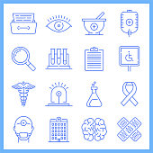 Modern social security and medicare blueprint style concept outline symbols. Line vector icon sets for infographics and web designs.