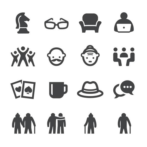 social seniors icons - acme series - old man hat stock illustrations, clip art, cartoons, & icons