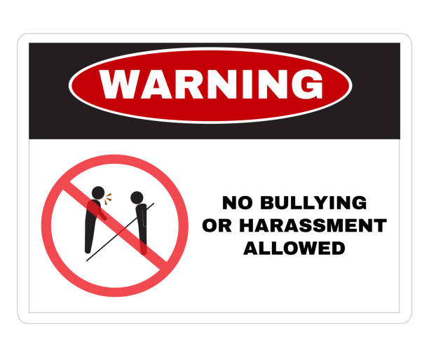 Social sensitive Prevention signs, WARNING  board with message Warning NO BULLYING OR HARASSMENT ALLOWED. beware and careful Sign, warning symbol design concept, vector illustration. Social sensitive Prevention signs, WARNING  board with message Warning NO BULLYING OR HARASSMENT ALLOWED. beware and careful Sign, warning symbol design concept, vector illustration. prettige verrassingen stock illustrations