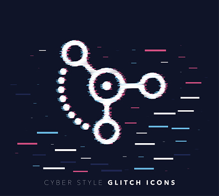 Social Sharing Glitch Effect Vector Icon Illustration