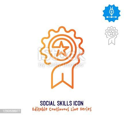 istock Social Skills Continuous Line Editable Icon 1250538977