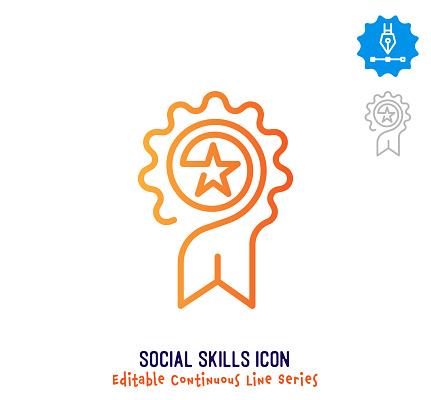 Social Skills Continuous Line Editable Icon