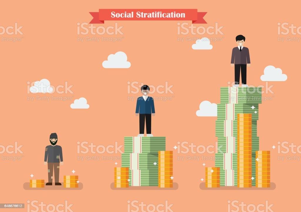 Social stratification with money vector art illustration