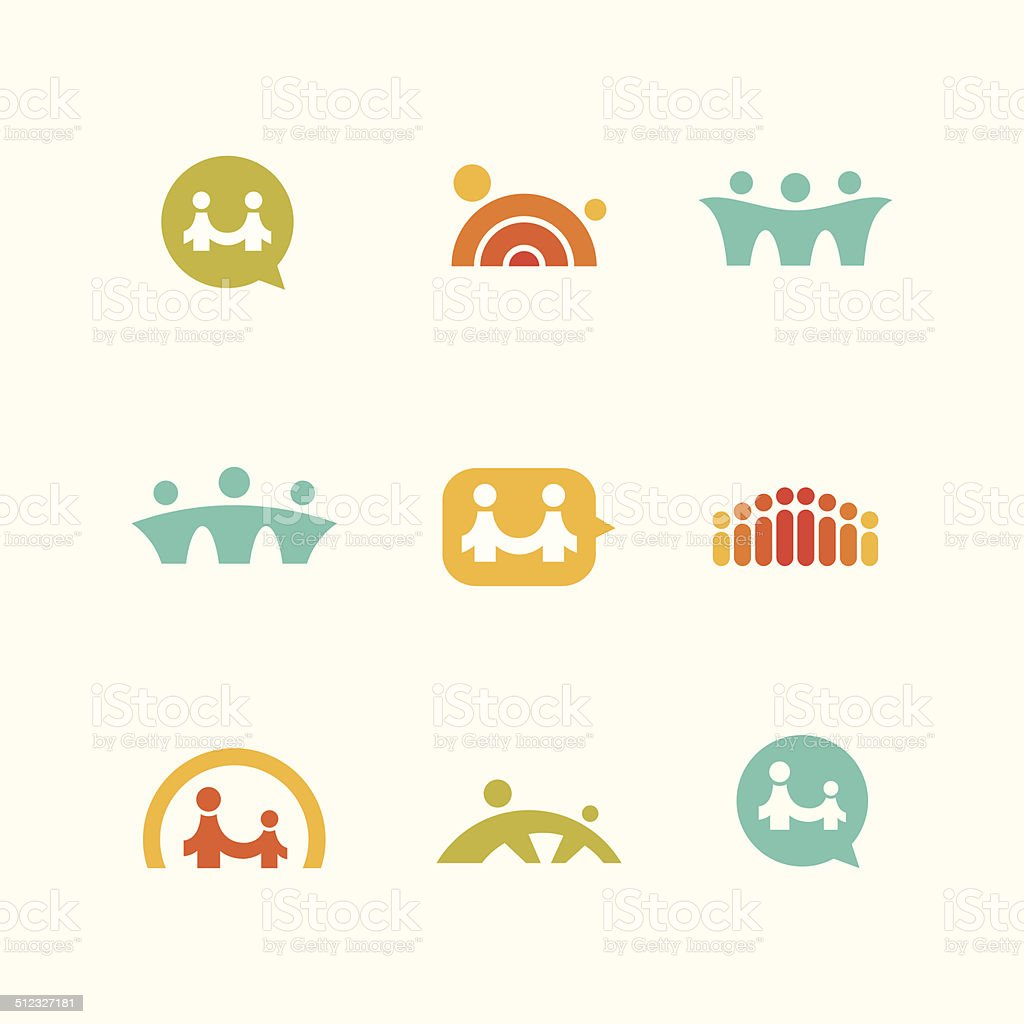 Social support icons vector art illustration