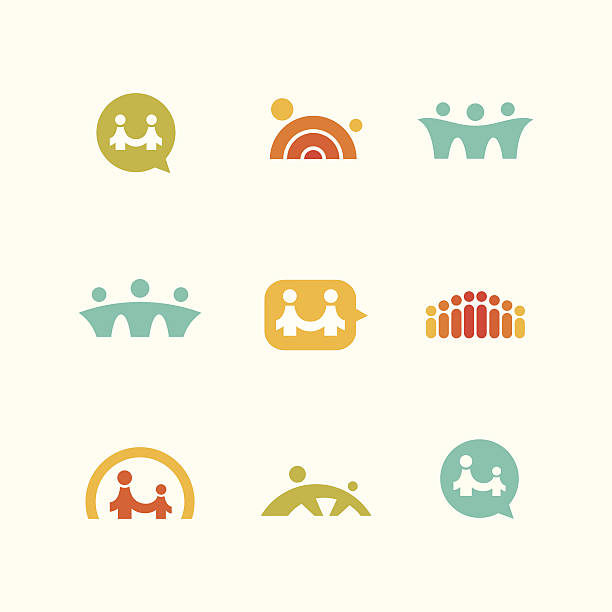 사회적 지원 아이콘 - bridge stock illustrations