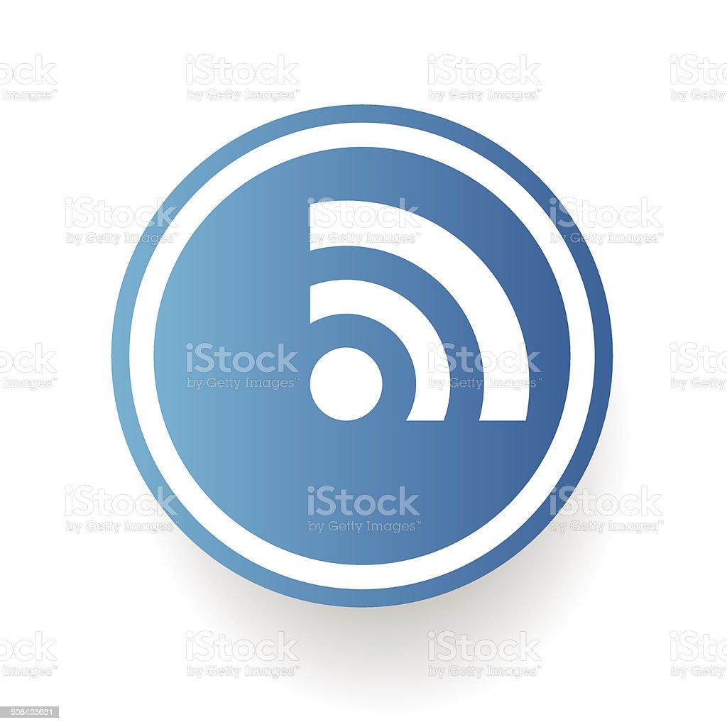 Social symbol on blue button vector art illustration