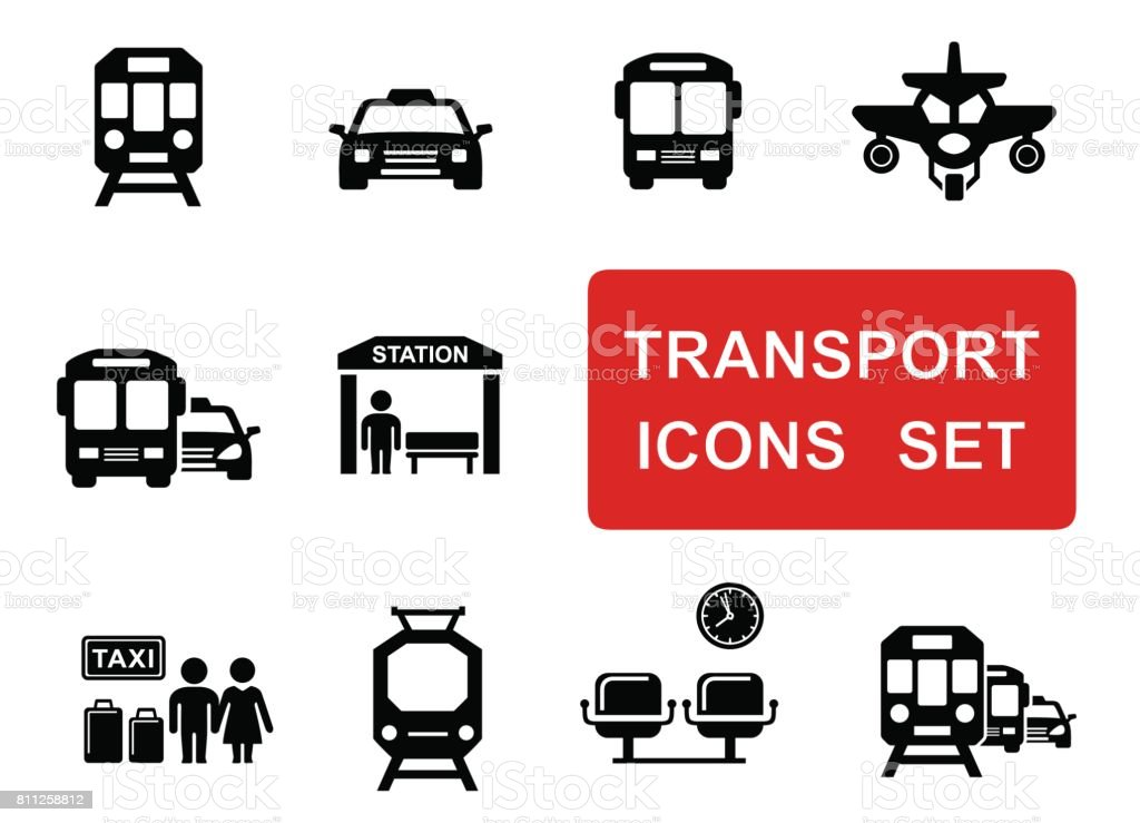 social transport set vector art illustration
