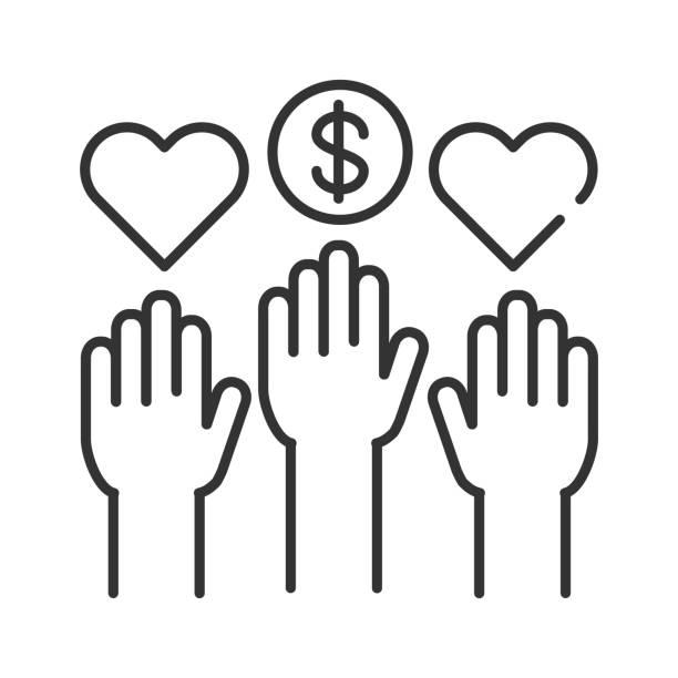 stockillustraties, clipart, cartoons en iconen met sociaal vrijwilligerswerk zwarte lijn icoon. vrijwillige handen. non-profit gemeenschap. liefdadigheid, humanitaire hulp concept. teken voor webpagina, mobiele app, banner, sociale media. editatable beroerte. - non profit