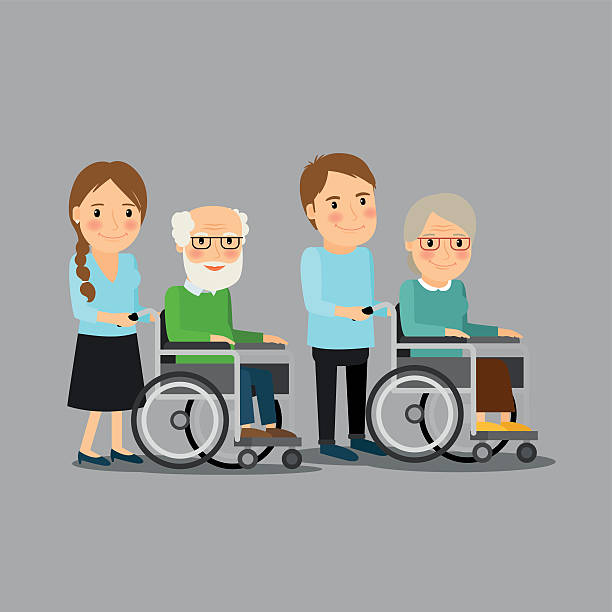 social worker strolling wheelchair - old man sitting chair silhouettes stock illustrations, clip art, cartoons, & icons