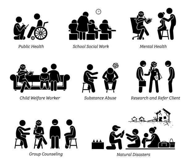 stockillustraties, clipart, cartoons en iconen met maatschappelijk werkers stok figuur pictogram pictogrammen. - sociale dienst