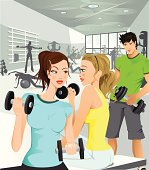 Illustration of two girls working out and looking at a very cute guy…  Illustration, 300 dpi, 11 x 12,5 inch EPS, AI, AI-CS2 (vector), JPEG (High, medium and low resolution) included