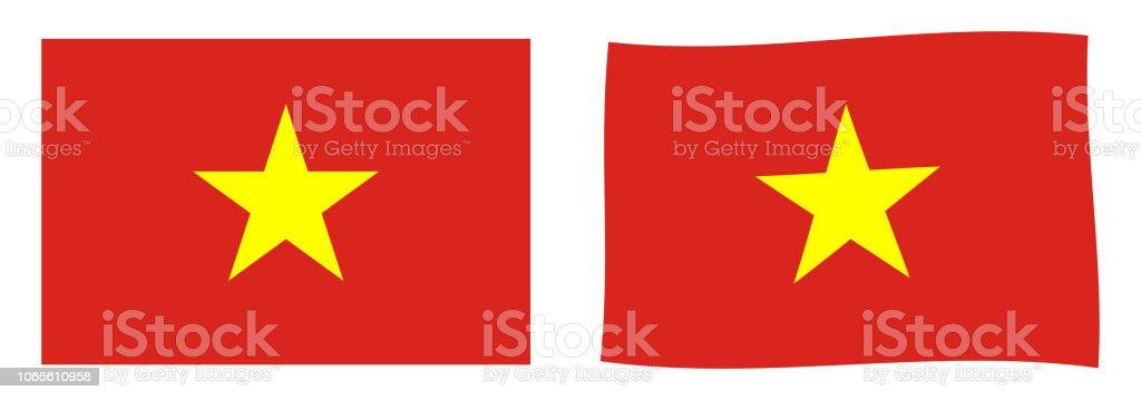 Socialist Republic of Vietnam flag. Simple and slightly waving version. vector art illustration