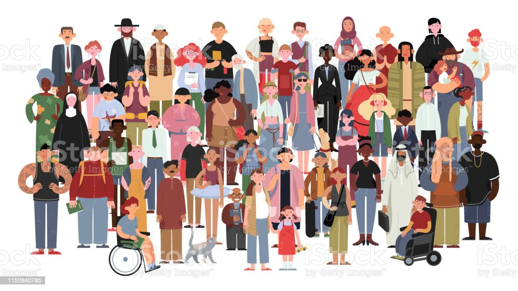 Povos multicultural e multiracial socialmente diversos em um fundo branco isolado. - Vetor de Adulto royalty-free