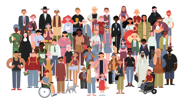 Socially diverse multicultural and multiracial people on an isolated white background. Socially diverse multicultural and multiracial people on an isolated white background. Happy old and young women and men with children, as well as people with disabilities standing together. crowd of people stock illustrations