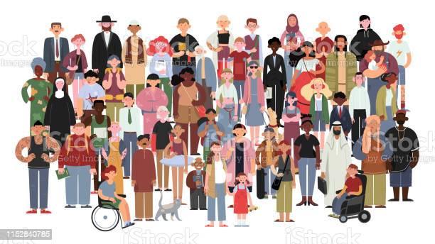 Vetores de Povos Multicultural E Multiracial Socialmente Diversos Em Um Fundo Branco Isolado e mais imagens de Adulto