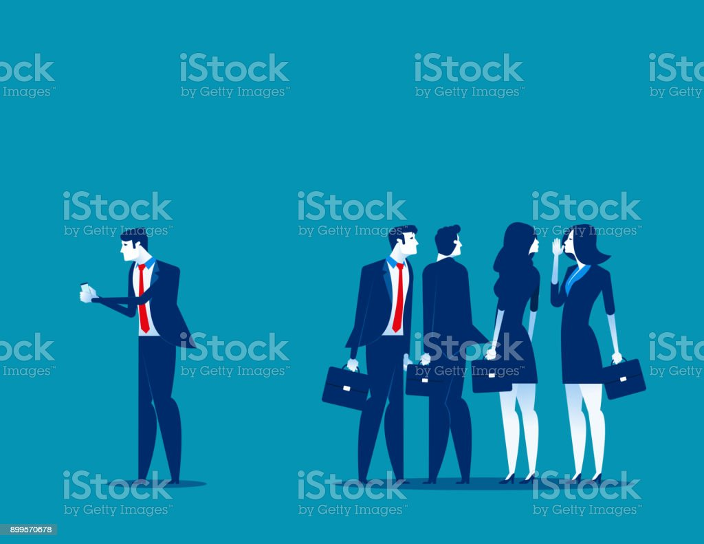 Society at work. Business person separated from the group of friends to using phone. Concept business vector illustration. vector art illustration