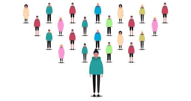 illustrazioni stock, clip art, cartoni animati e icone di tendenza di society concept. crowd of people on white background, isolated vector illustration in flat style. panorama - focus group