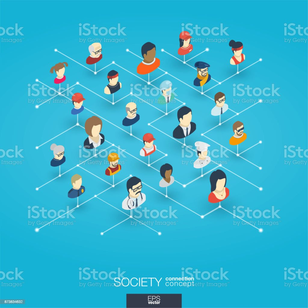 Society integrated 3d web icons. Digital network isometric concept vector art illustration