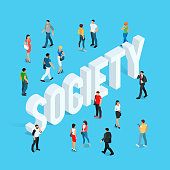 Society. Isometric social concept with people in different poses. Vector illustration.