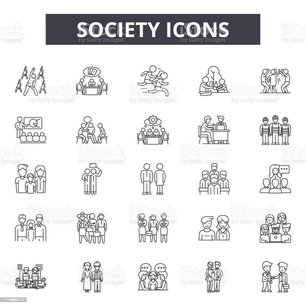 Society line icons, signs, vector set, outline concept linear...