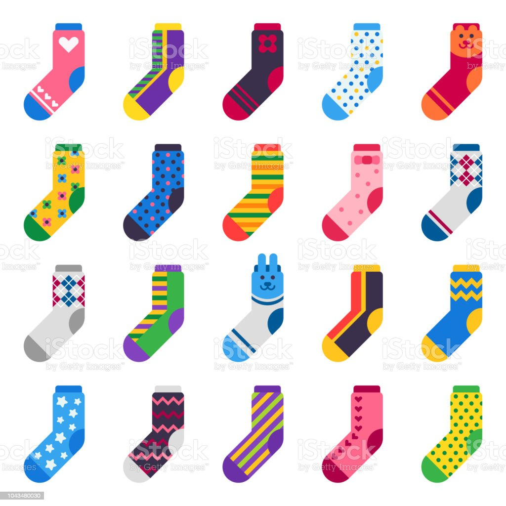 Sock icon. Sport long socks, kids feet clothes and striped warm hosiery isolated vector flat set vector art illustration