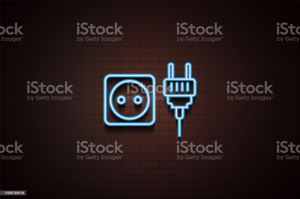 socket and plug icon in neon style. One of Appliances collection icon can be used for UI/UX vector art illustration