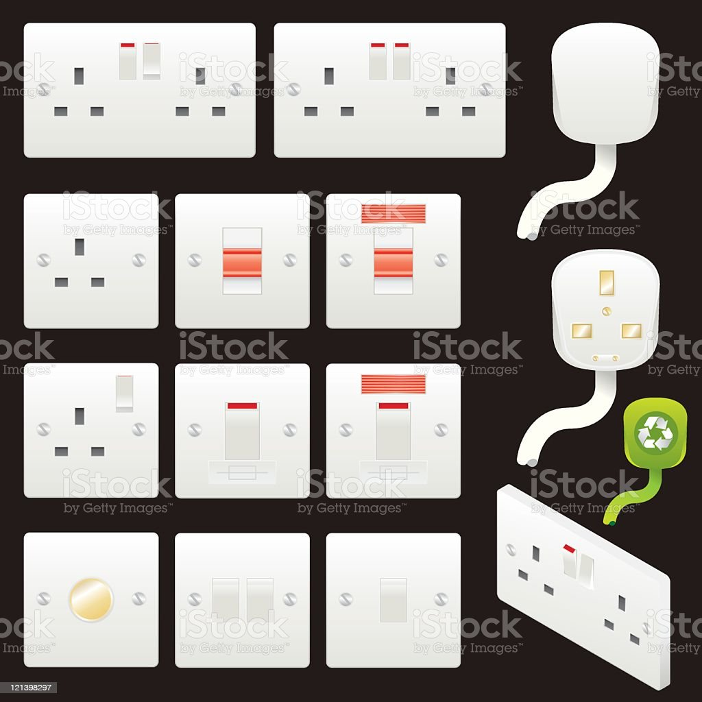 Socket and Switches royalty-free stock vector art