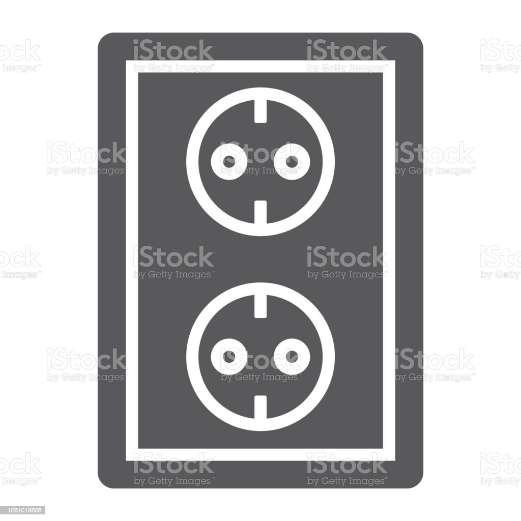 Socket Glyph Icon Electricity And Voltage Power Sign Vector