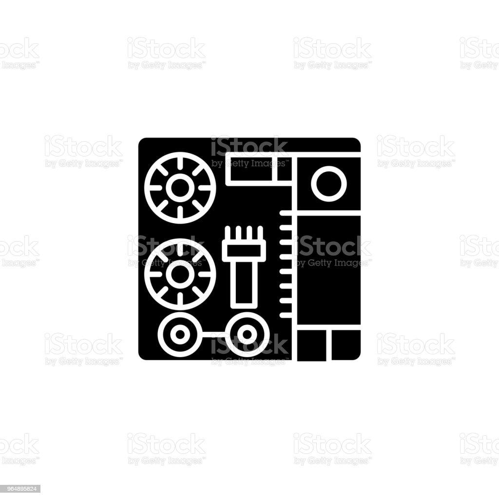 通訊端面板黑色圖示概念。插座板平面向量符號, 符號, 插圖。 - 免版稅一組物體圖庫向量圖形
