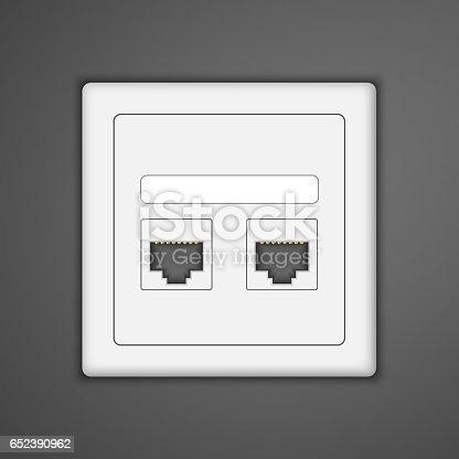 istock Socket rj45 icon. Vector illustration. 652390962