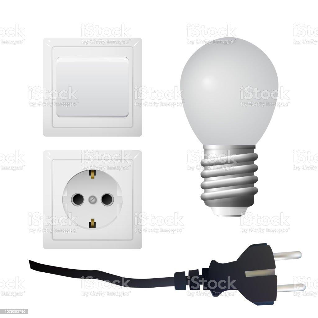 Socket with plug, light bulb. vector art illustration