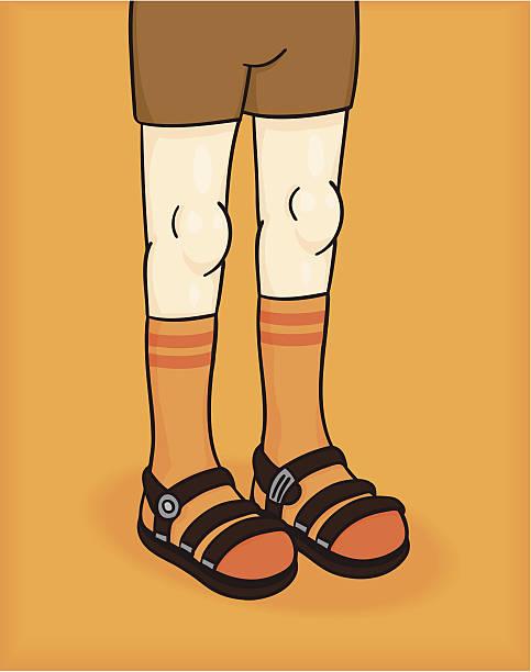 stockillustraties, clipart, cartoons en iconen met socks and sandals - sandaal
