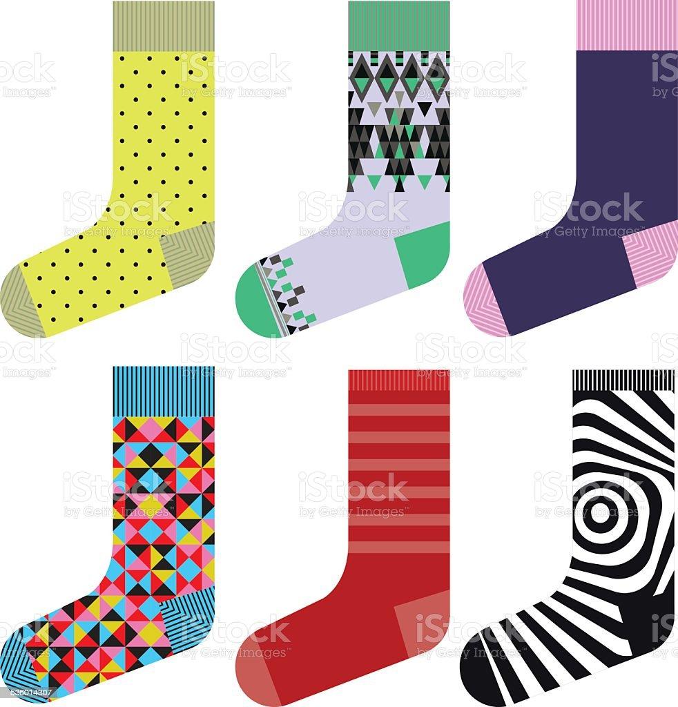 Socks design set, colorful collection vector art illustration