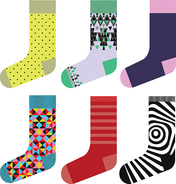 Socks design set, colorful collection vector art illustration